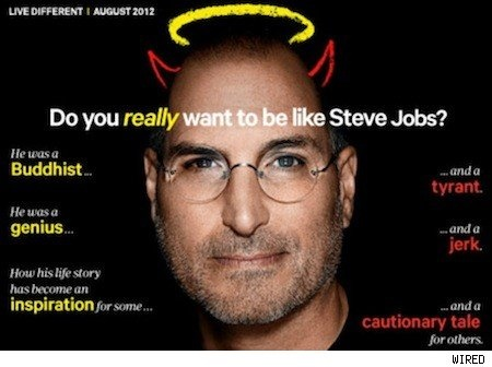Steve Jobs as featured in Wired. The latest big-budget biography has him portrayed by Magneto, a megalomaniac who thought he knew what was best for everyone and would stop at nothing to achieve his dreams. Probably a coincidence.