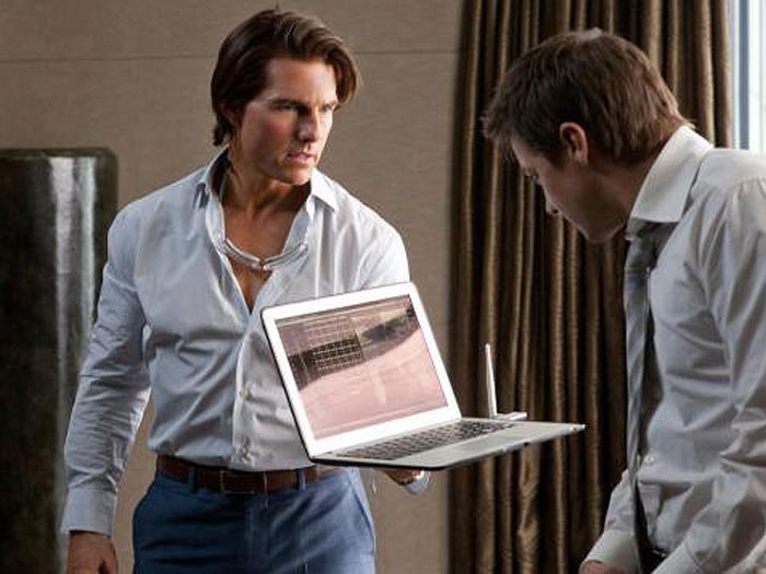 Tom Cruise, showing off a new Macbook in a Mission Impossible movie.